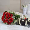 Bouquet of 10 Red Roses with a Half Kg Chocolate Cake
