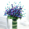 Bunch of 10 Blue Orchids in a Vase