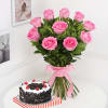 Bunch of 10 Pink Roses & Half Kg Round Black Forest Cake (Eggless)