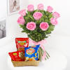 Bunch of 10 Pink Roses with Namkeen & Bhujia