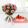 Bunch of 10 Pink Roses with Strawberry Cake (Eggless) (Half Kg)