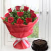 Bunch of Red Roses with Chocolate Cake (Eggless) (Half Kg)