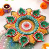 Clay Painted Diya with Batti Set