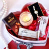 Cocoa Gourmet Goodies with Candles in Heart Box Hamper