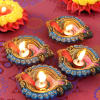 Colorful Painted Clay Diyas