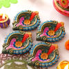 Colorful Set of 4 Clay Diyas