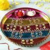 Colorful Stripes Stone Work Decorative Puja Thali