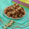 Colorful Velvet Beads and Gota Patti Set of Five Rakhis with Doda Barfi