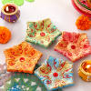 Colourful Clay Star Shape Diyas