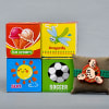 Cute Cartoon Dial Kids Rakhi with Learning Block Toys