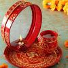 Decorative Puja Thali with Chalni & karwa
