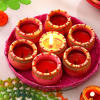 Decorative Tray of Painted Clay Diyas