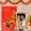 Designer White Metal Frame with Diwali Greeting Card