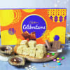Diwali Diya Set with Soan Papdi & Greeting Card