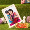 Dual Sided Personalized Photo Frame with Tikka Thali
