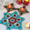 Elegant Blue Kundan & Bead Work Rangoli with Designer Kundan Work Diya