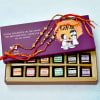 Elegant Set of 3 Designer Beaded Work Rakhis with Flavored Chocolate Pack