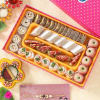 Elegant Stone Rakhi with Kaju Badam Anjeer Mix Mithai and Roli Chawal Container