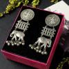 Buy Elephant Shaped Silver Oxidized Matte Finish Jumka Earrings