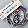 Evil Eye Beads & Stone Ornate Rakhi with Silver Blue Gota Work Puja Thali