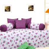 Flower Print Diwan Set with 5 Cushions Covers and 2 Bolsters Covers