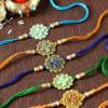 Flower Rakhi with Stone & Meena Work