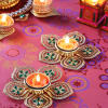 Flower Shaped Metal Diya Set