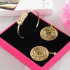 Gold Plated Jaali Work Earrings & Bracelet in a Gift Box