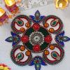 Gorgeous Blue & Red Diya Designed Rangoli