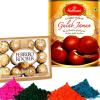 Haldiram Gulab Jamun with Holi Colors and Ferrero Rocher
