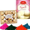 Haldiram Rasgulla with Ferrero Rocher and Holi Gulal