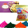 Haldiram Soan Papdi with Namkeen and Holi Gulal