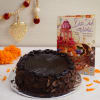 Half Kg Round Chocolate Cake With Diwali Card