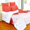 Heart Print Complete Bed Set with Double Bedsheet and AC Quilt