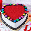 Heart Shape Gems Red Velvet Cake (Eggless)(Half Kg)