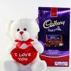 I Love You Teddy Bear With Dairy Milk Fruit & Nut Chocolate