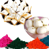 Kaju Barfi with Haldiram Rasgulla and Holi Colors