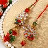 Kundan Work Bhaiya Bhabhi Rakhi Set