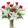 Lilies And Roses in a Glass Vase Arrangement