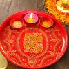 Lord Ganesha Pooja Thali with Diyas