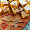 Metal and Meena Shri Rakhi with Moong Barfi