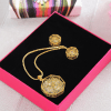 Octagonal Jaali Work Gold Plated Pendant Set with CZ Stones