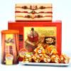 Om Swastika Rakhi Set of 3 with Karachi Halwa & Roasted Almonds