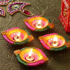 Painted Colourful Clay Diyas