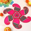 Paisley Shape Pink Fibre Rangoli