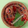 Pearls & Beads Rakhi with Multicolored Pooja Thali