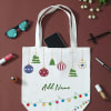 Personalized Christmas Ornament Design Canvas Shopping Bag