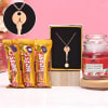 Personalized Necklace with Scented Candle & Chocolates