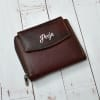 Personalized Pure Leather Zip N Button Closar Clutch