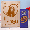 Personalized Wooden Photo Frame with Cadbury Dark Milk